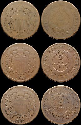 Two Cent Piece 2c, 1867, 1868, 1871 (Semi-Key date), Lot of 3