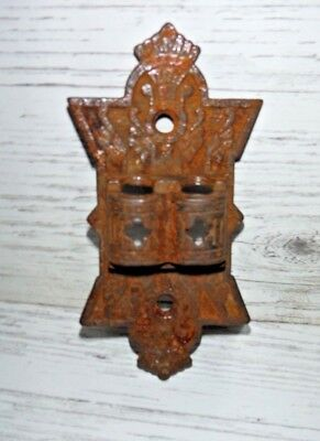 Antique Victorian Cast Iron Oil 2 Lamp Light Wall Bracket Holder ORNATE DESIGN