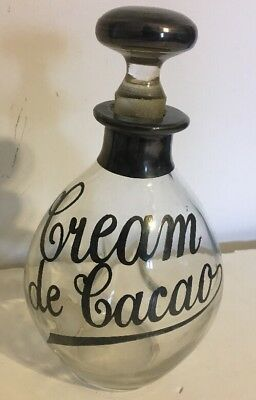 Vintage Glass Decanter Sterling Silver Overlay CREAM DE CACAO