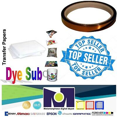 Dye Sublimation Transfer Paper 100 sheets 8.5x11 pack + 1 Roll Of Thermal Tape