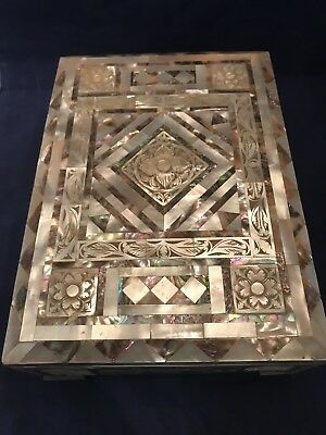 Beautiful Vintage Mother Of Pearl Abalone Inlay Wood Trinket Jewelry Box