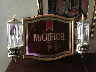 RARE 1985 Michelob Beer Light-Up Mirror Sign with Sconces