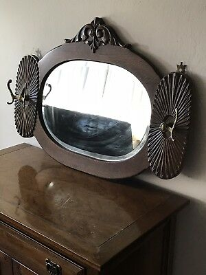 vintage wall hanging Mirror Coat / Hat Rack Beveled Glass Wooden Heavy