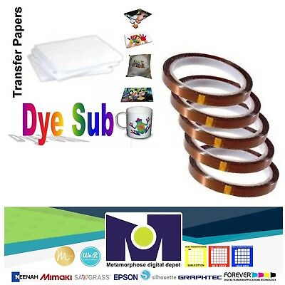 Dye Sublimation Transfer Paper 100 sheets 8.5x11 pack + 5 Rolls Of Thermal Tape