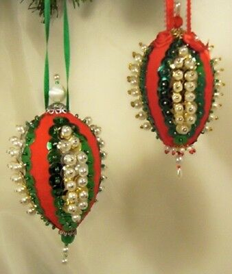 Pair (TWO) Vintage Hand Made VICTORIAN STYLE Oval Christmas Ornaments D11