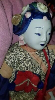 """Vtg.Traditionl 27""""Chinese Doll~Delft type~Blue/White Porcelain~Applied floral"""