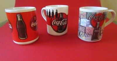 1997 Gibson Coca Cola Collectible Coffee Cup Mugs Vintage Collectible LOT of 3