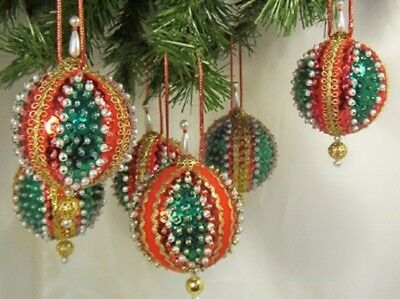 SIX (6) Vintage Hand Made VICTORIAN STYLE Christmas Ornaments D11