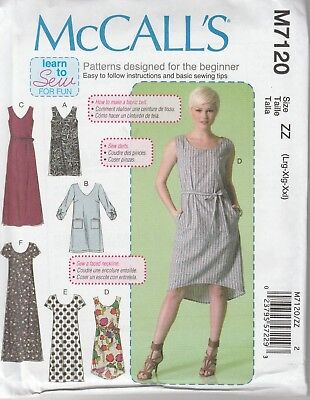 McCall's Sewing Pattern 7120 Misses 16-26 Pullover Dresses Belt Learn to Sew