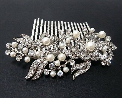 Wedding Bridal Vintage Pearl Hair Comb Headpiece Swarovski Elements-SILVER