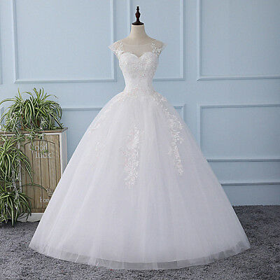 white Wedding Dresses round neck sleeveless Backless princess dress Bridal Gown