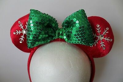 Disney Parks Christmas Holiday 2018 Red Snowflake Minnie Ear Headband Sequin NEW