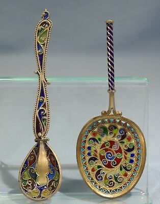 David-Andersen & Austrian Silver gilt Sterling Plique a Jour Two Spoons As Is