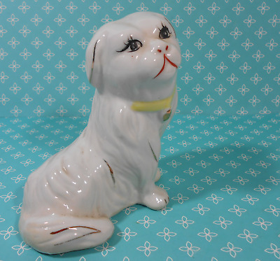 Pekingese Dog Figurine with gold accents  sweet eyes red mouth  Peke  Canine