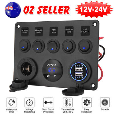 AU 5 Gang ON-OFF Toggle Switch Panel 2USB 12V for Car SUV Marine RV Truck Camper