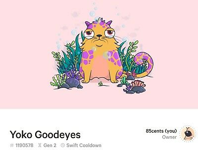 Ethereum CryptoKitties Gen2 Jaguar Yoko Goodeyes #1190578 Swift Cooldown Virgin