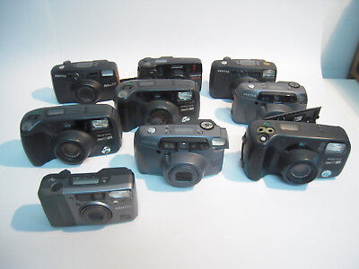 Lot of 9x Lot 8x Pentax 1x olympus Point&shoot cameras for Repair or Parts--M28