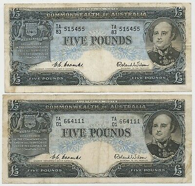 Australia pair with 2 Banknotes 5 Pounds ND(1954-59), P.31a_F
