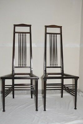 Pair Of Antique American Stained Walnut Slim High Back Chairs c.1900. Unusual