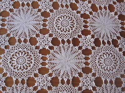 Vintage tablecloth crochet lace large rectangular 6-8 seat table setting