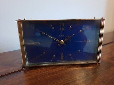 Vintage 1960's Smiths Brass Mantel Clock (Navy Blue Face Wind Up Movement Time)