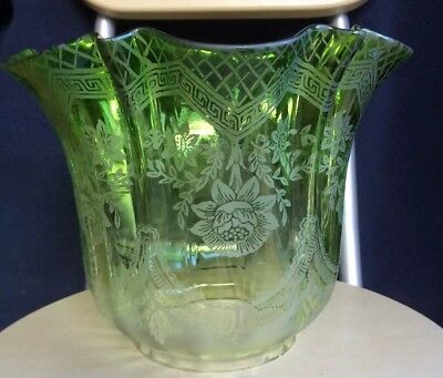 Vintage Antique Green Etched Glass Oil Lamp Shade