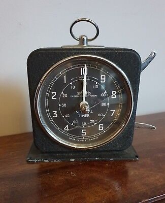 Vintage Smiths English Clock Systems Interval Timer (Black Silver Handle Photo)
