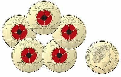 2018 Coloured $2 Remembrance Day Armistice Centenary Mint Sachet Bag of 5 Coins