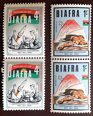 Nigeria Biafra 1968 1st Anniv Independence 2 Values MNH Pairs