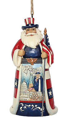 Jim Shore*AMERICAN WORLD SANTA with FLAG ORNAMENT*New 2018*NIB*UNCLE SAM*6001508