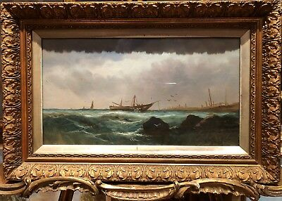 FINE OLD MASTER 19th CENTURY SEA OIL PAINTING By WILLIAM HALE  GOLD GILT FRAME