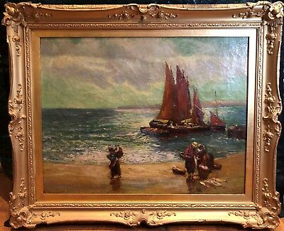OLD MASTER CIRCLE OF CLAUDE MONET OIL PAINTING mid 19th CENTURY GOLD GILT FRAME