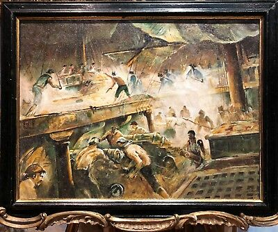 OIL PAINTING ( ROYAL NAVY ADMIRALTY ) MARITIME PIECE OLD MASTER 19th CENTURY