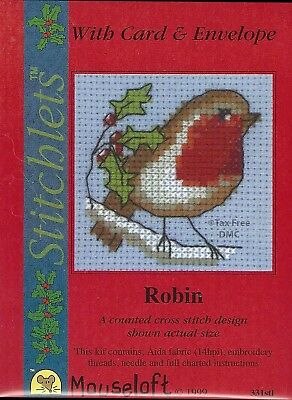 VAT Free Mouseloft Christmas Card Robin and Snowdrops Counted Cross Stitch New