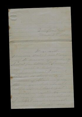 29th Ohio Infantry (OVI) Civil War Letter from Dumfries, Virginia NICE CONTENT !