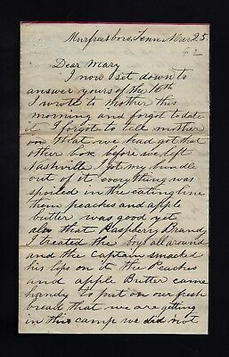 2nd Ohio Infantry CIVIL WAR SOLDIER LETTER from Murfreesboro, Tennessee NICE !