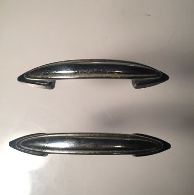 2 Vintage Atomic Chrome and Black Bakelite Drawer Pull Handle Set of 2 Retro