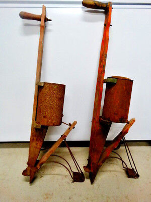 2 Antique America Standard #4 Hand Corn Planters Seeders Primitive Farm Tools
