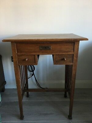 Rare Antique German Wooden Sewing Table With Drawers For Storage