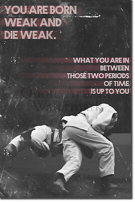"""Football Soccer Motivational Poster 02 /""""You are born weak../"""" Art Print Quote"""