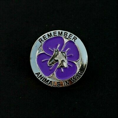 PURPLE POPPY REMEMBRANCE BADGE SILVER P27 ANIMALS IN CONFLICT