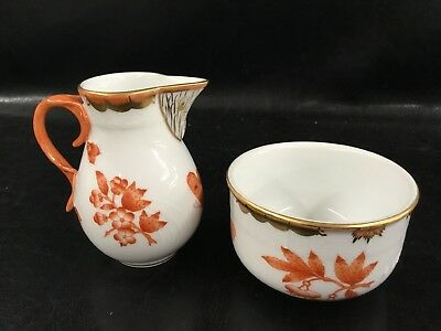 HEREND Rust Fortuna CREAMER And Open Sugar BOWL