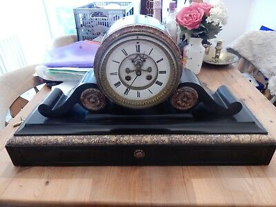 Good French Large Slate & Marble Drumhead Mantel Clock by Hy Marc of Paris c1880