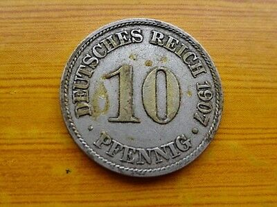 Germany Empire - Deutsches Reich 10 Pfennig 1907 A Zinc German Coin Very Rare