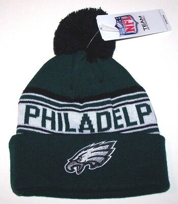 Nwt New Philadelphia Eagles Logo NFL Football Beanie Cap Hat Green PomPom Youth