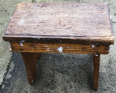 Vintage rough & ready antique rustic wooden footstool, stool, lots of patina!