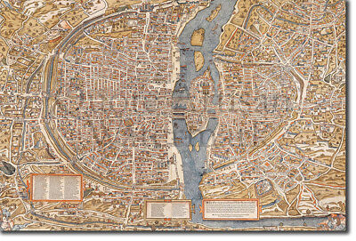 Vintage Map of Paris From 1550 Photo Print Poster Gift France French