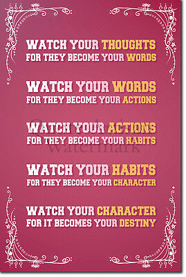 WATCH YOUR THOUGHTS - Motivational Art Print Photo Poster Motivation Gift Quote