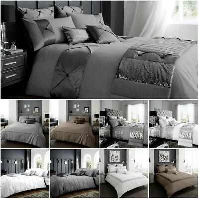 Luxury Duvet Cover Set Double Super King Size Bedding Black Silver Grey White