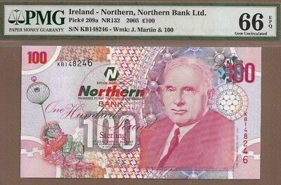 IRELAND-NORTHERN: 100 Pounds Banknote,(UNC PMG66),P-209a,2005,No Reserve!